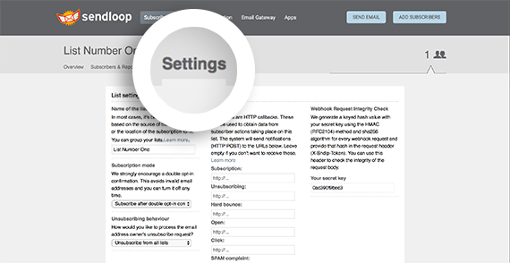 Click the settings tab to configure your list.