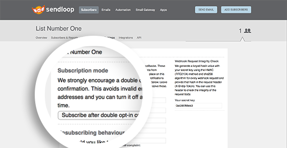 Lists are set to double opt-in by default.