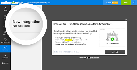 Select the New Integration item to begin connecting your Email Provider to OptinMonster.