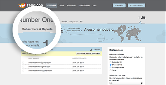 Select the Subscribers and Reports tab from your list overview.