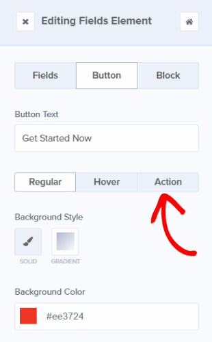 editing your button action in optinmonster's drag and drop campaign builder