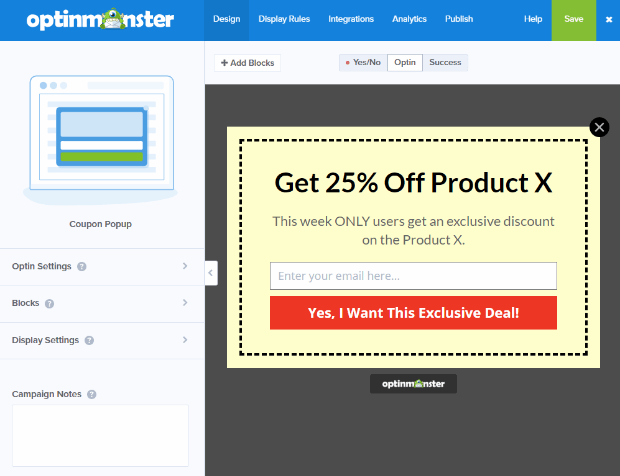 coupon default campaign view