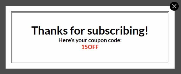 coupon popup success view