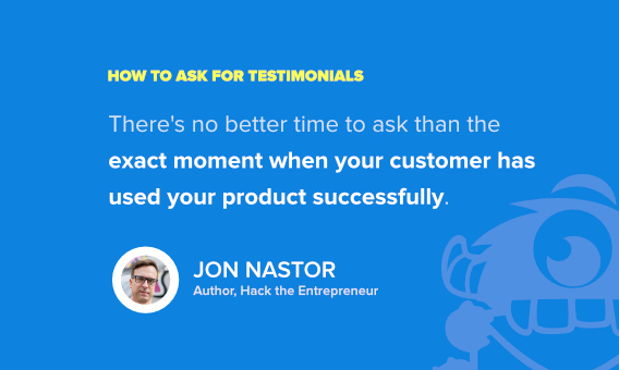 ask for client testimonials - jon nastor