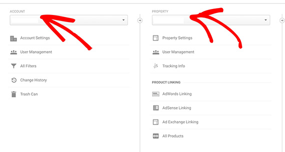 Select the correct Account and Property for your Google Analytics account.