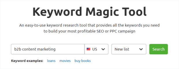 semrush keyword magic tool