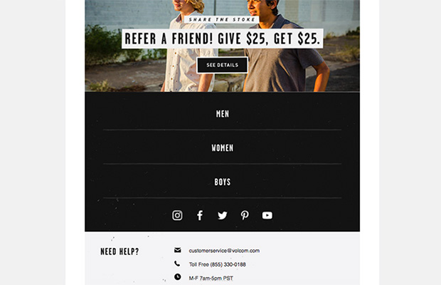 ecommerce email ideas - ask for referrals