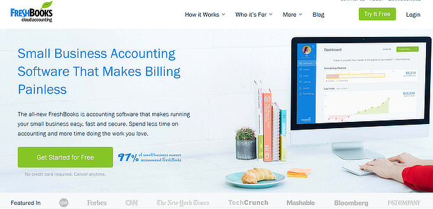 freshbooks landing page for free trial users