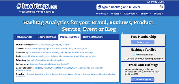 hashtags-org homepage