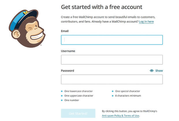 mailchimp simple signup form