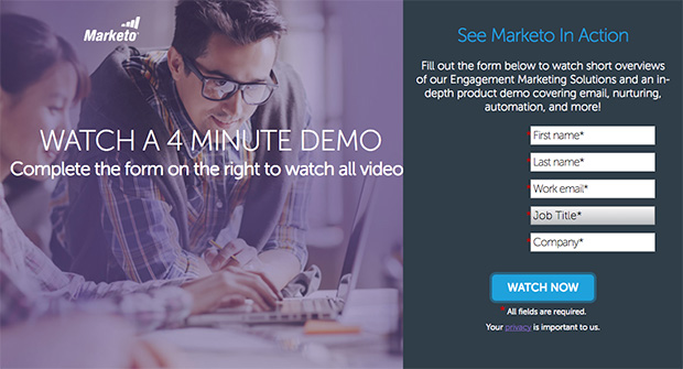 one of Marketo's content marketing hacks is to offer a video demo as a lead magnet