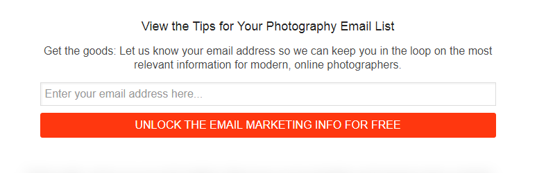 Photowebo used gated content to show these email marketing tips only to subscribers