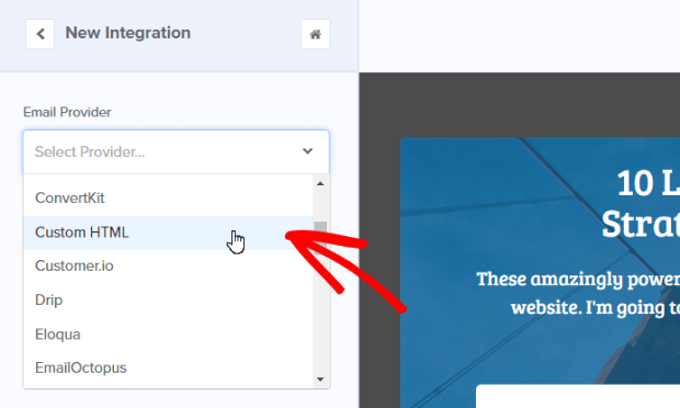 select custom html