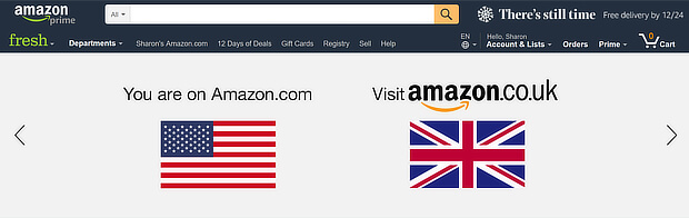 amazon location redirection - ecommerce personalization