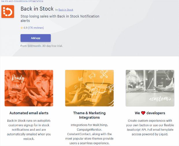 back in stock app