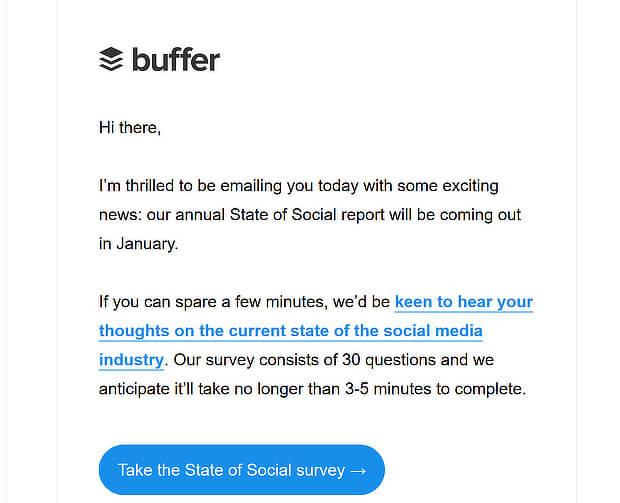 buffer short email newsletter design example