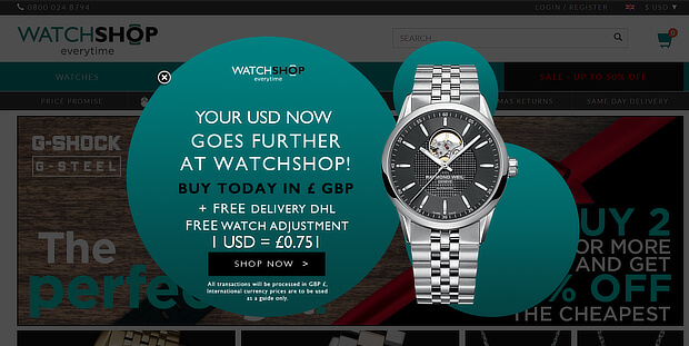 examples of personalized marketing - watchshop