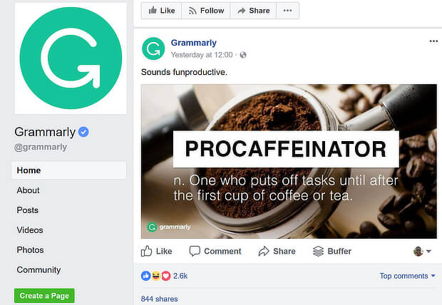 grammarly facebook