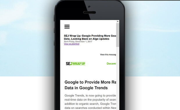 mobiletest email newsletter example