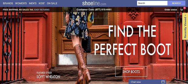ecommerce personalization examples - shoeline changes homepage banner