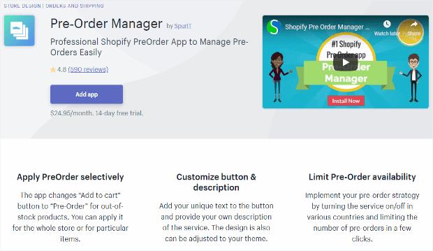 pre-order manager app lets you take advantage of advance sales