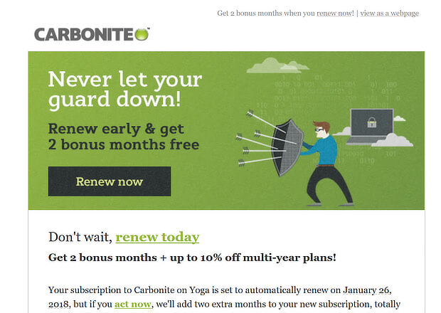 upsell email examples - carbonite