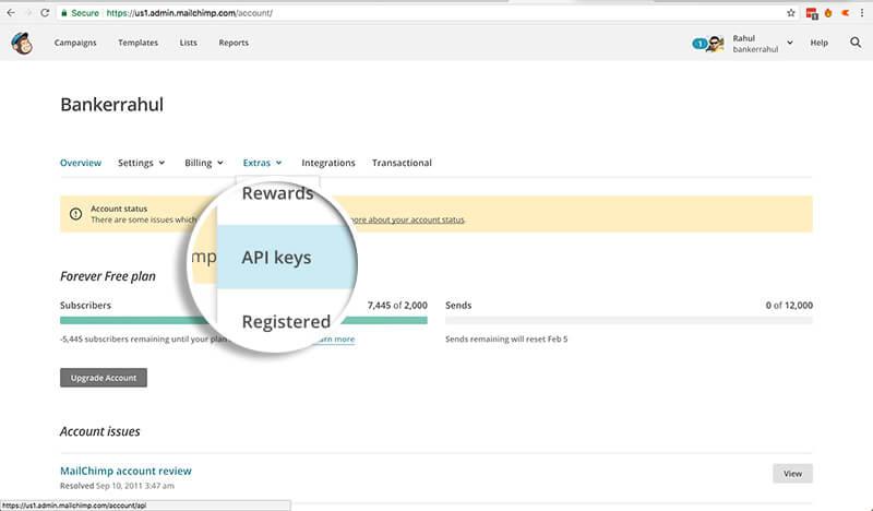 Go to API Keys