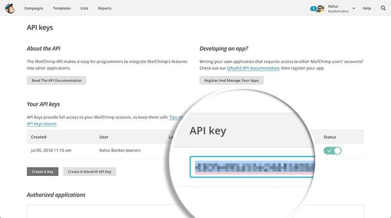 Copy API Keys