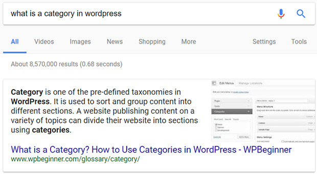 seo for lead generation - answer box example