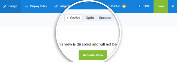 activate yes no view