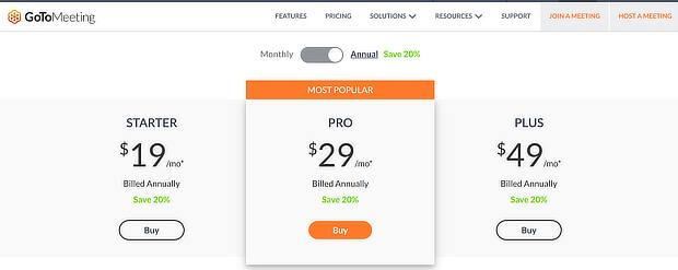 gotomeeting pricing page example