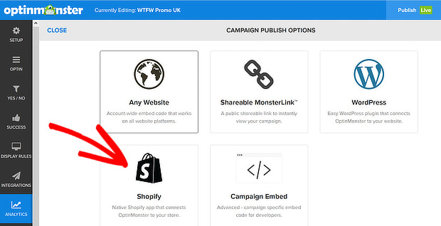 om publishing options shopify