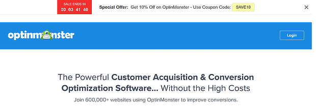 optinmonster offer on pricing page