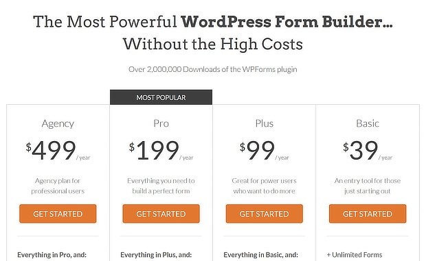 pricing page headlines and plans on wpforms