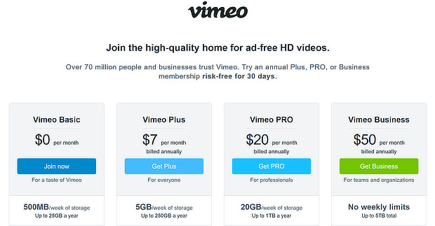 subscription plan page design -vimeo