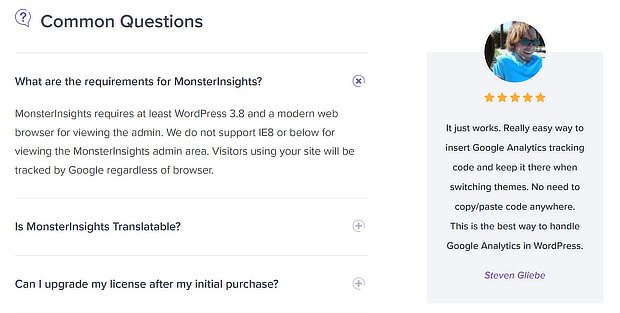 use monsterinsights faqs as a pricing page template