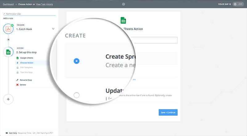Select Create Spreadsheet Row
