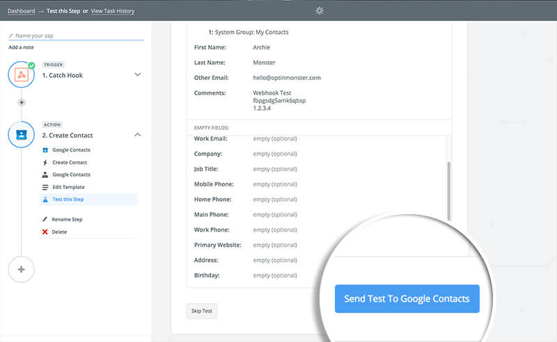 Click Send Test to Google Contacts
