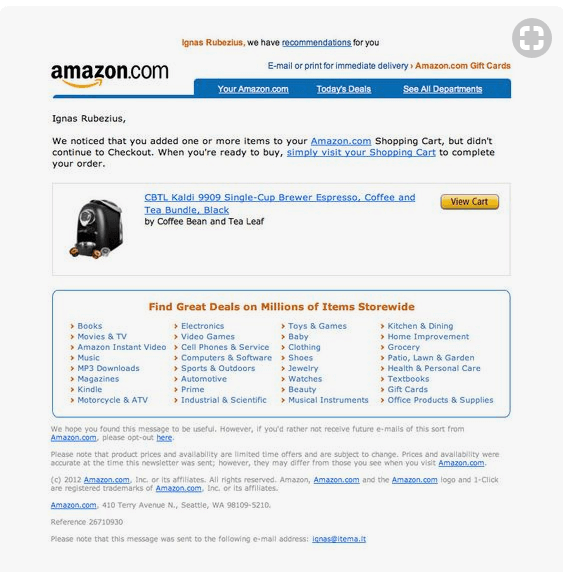 abandoned cart email examples - amazon