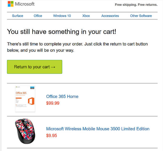 abandoned cart email template from microsoft