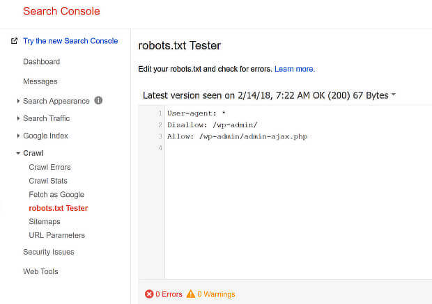 check website seo with search console robots.text tester
