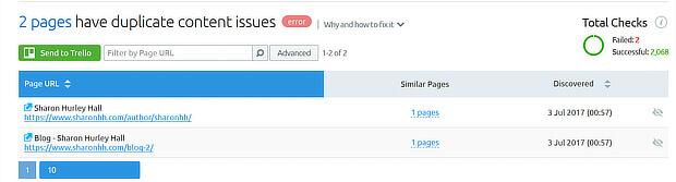 semrush duplicate content detail