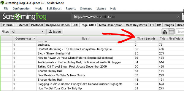 seo audit page titles with screaming frog