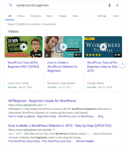 wordpress for beginners google search