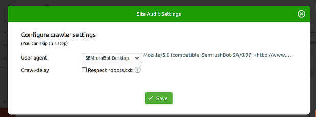 change user-agent in semrush