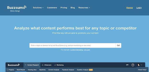 buzzsumo content marketing tool
