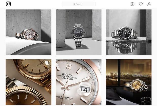 rolex's content marketing on instagram