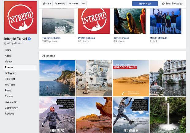 facebook content marketing examples - intrepid travel
