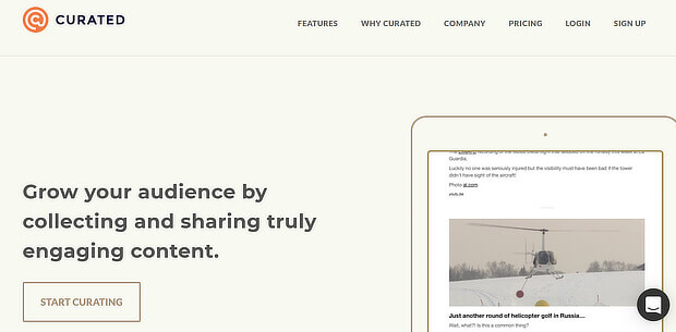 Curated is used to curate and share content