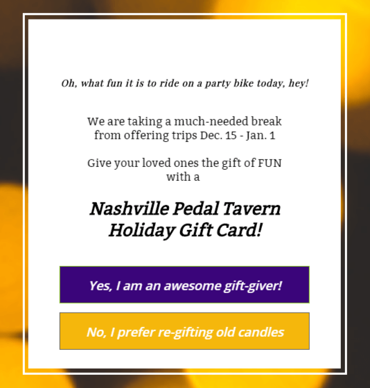 Nashville Pedal Wagon offered gift certificates using OptinMonster
